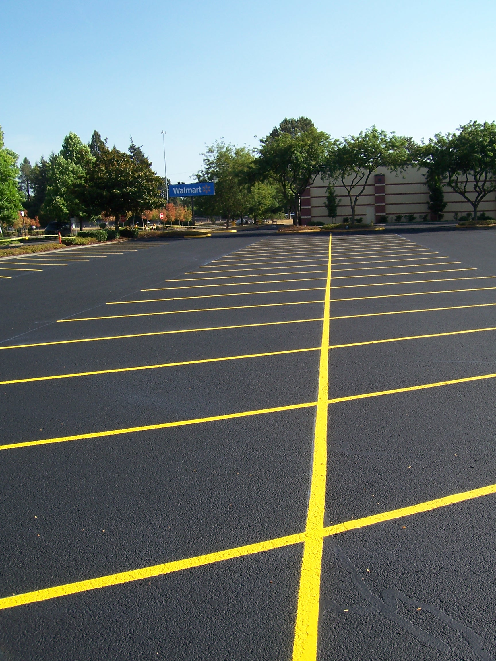 Brand new asphalt on a parking lot