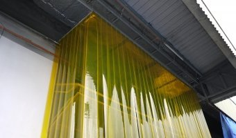 PVC curtain in yellow shade