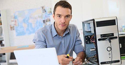 Man doing computer check up