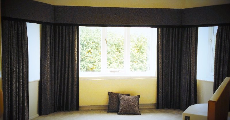 brown coloured curtains