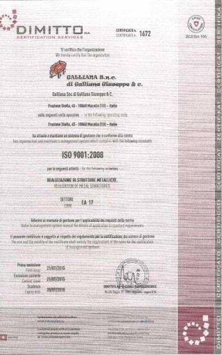 Cerficato ISO Carpenteria