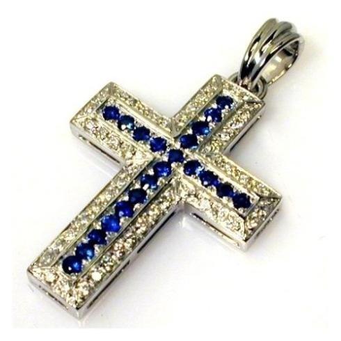 Croce oro bianco brillanti e zaffiri
