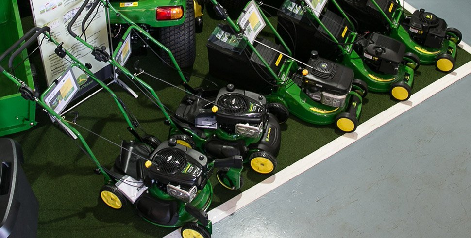 A selection of walk behind mowers