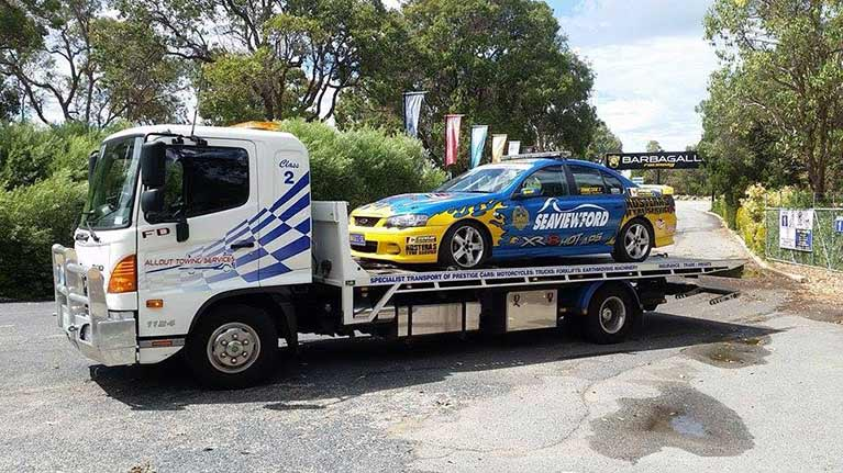 allout towing services race car towing