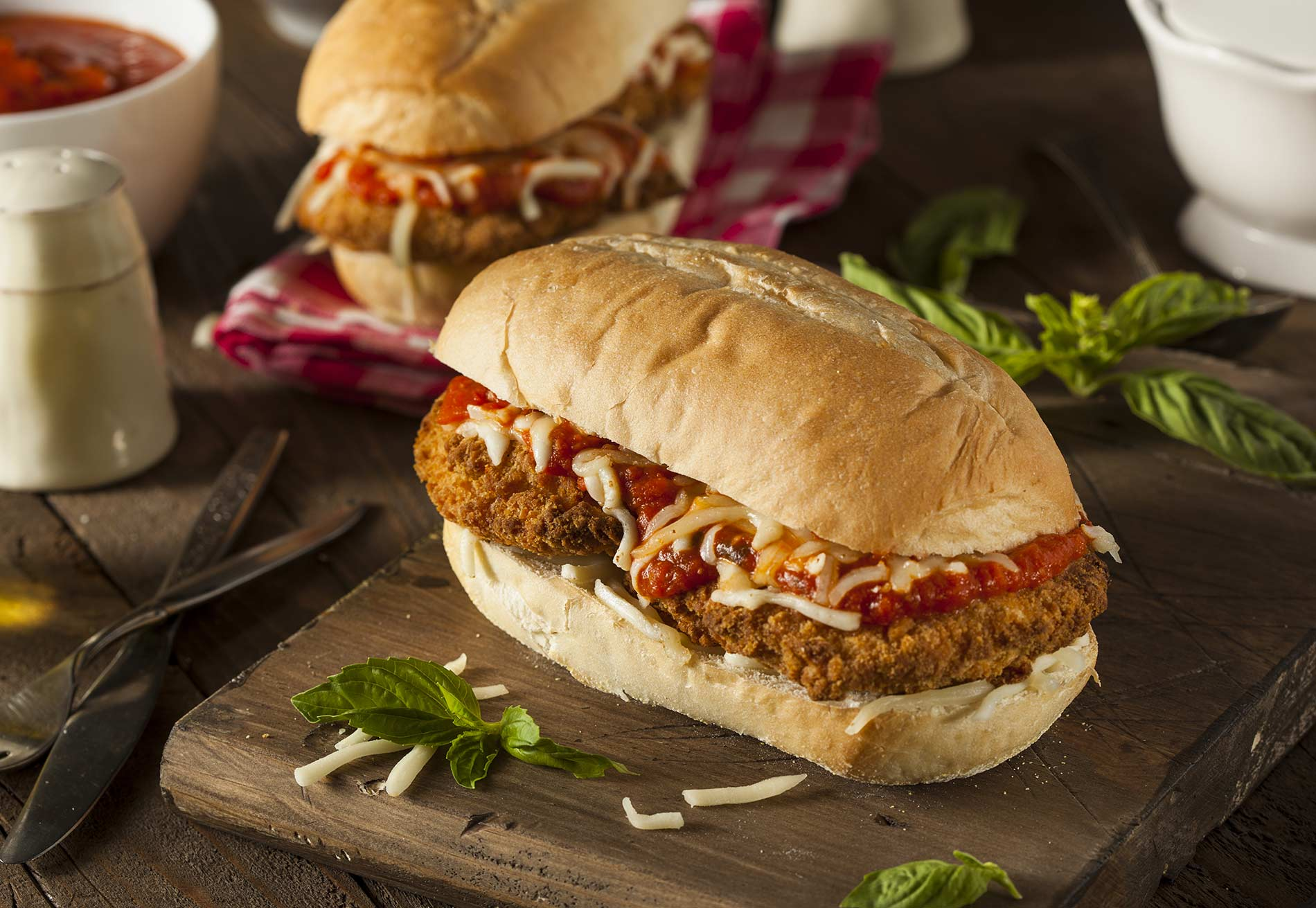 Hearty Homemade Chicken Parmesan Sandwich with Marinara and Cheese