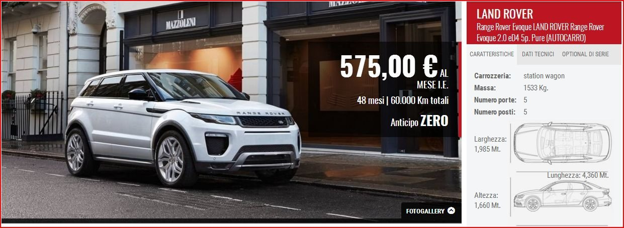 Offerta su Land Rover Evoque