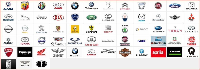 Una serie di marchi di automobili e motociclette