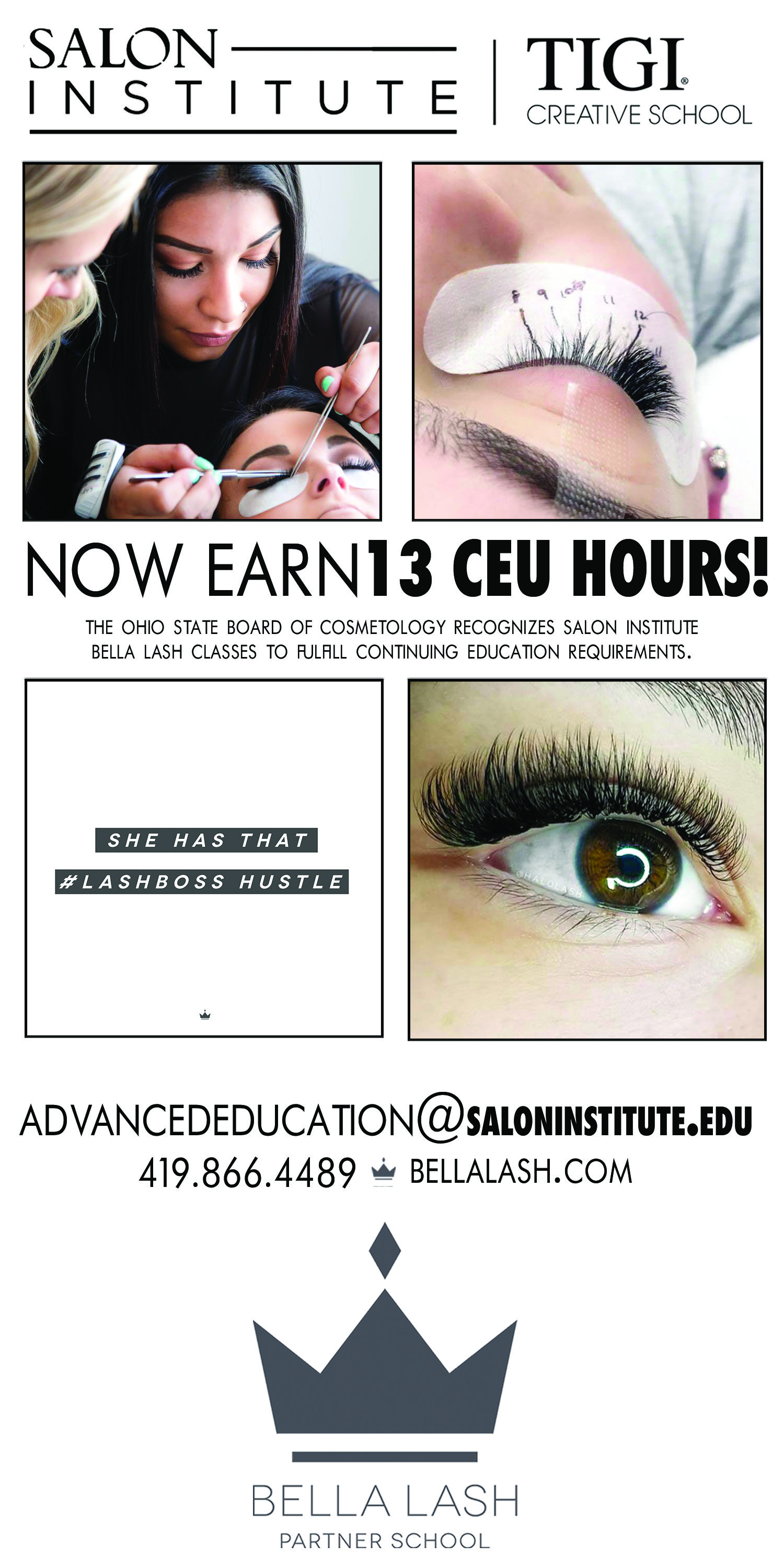 d4e8f7b902c The Ohio State Board of Cosmetology now awards 13 CEU hours for the Salon  Institute's 2-day Bella Lash certification workshop.