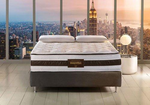 un letto di color grigio e un materasso della marca Magniflex con due cuscini e vista di una città