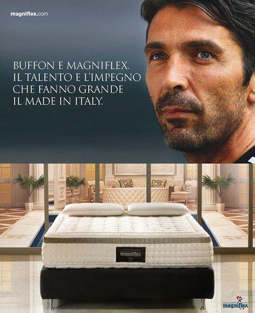 un materasso della marca Magniflex e un'immagine del Buffon