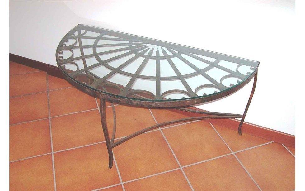 Tavolo da muro in ferro battuto lavorato
