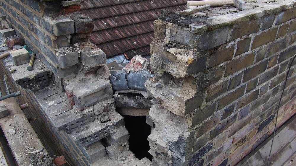 Demolishing of parapet wall