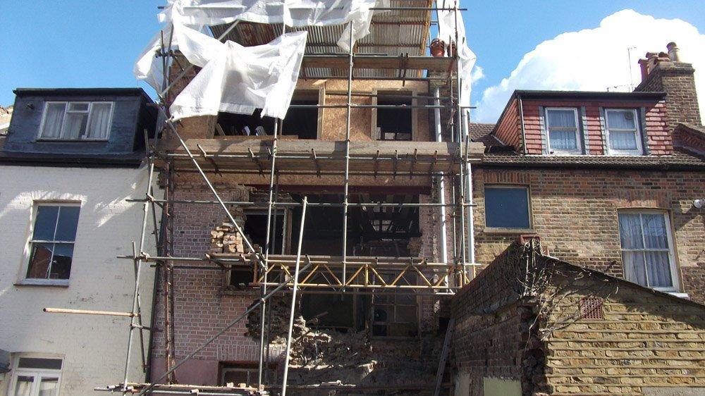 house exterior during refurbishing