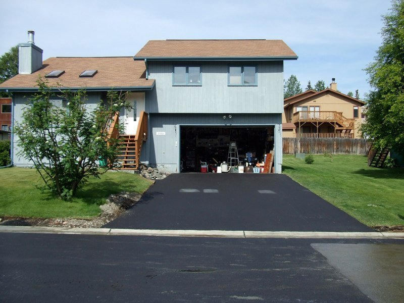 Paving of driveway in progress in Anchorage