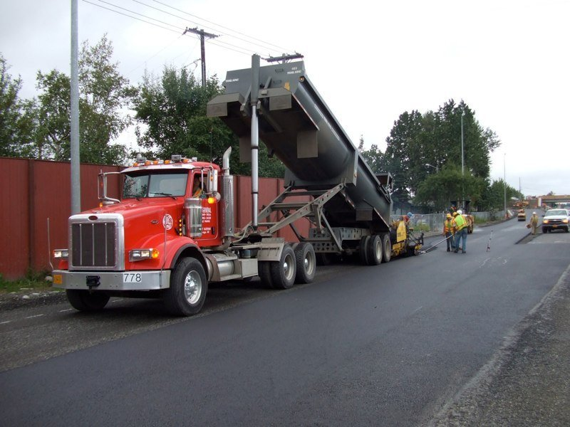 Paving of road in progress in Anchorage