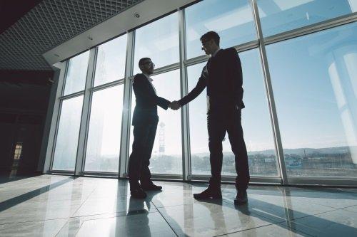 Un consulente stringe la mano ad un cliente
