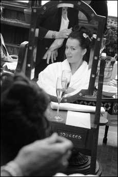 bride having her hair styled
