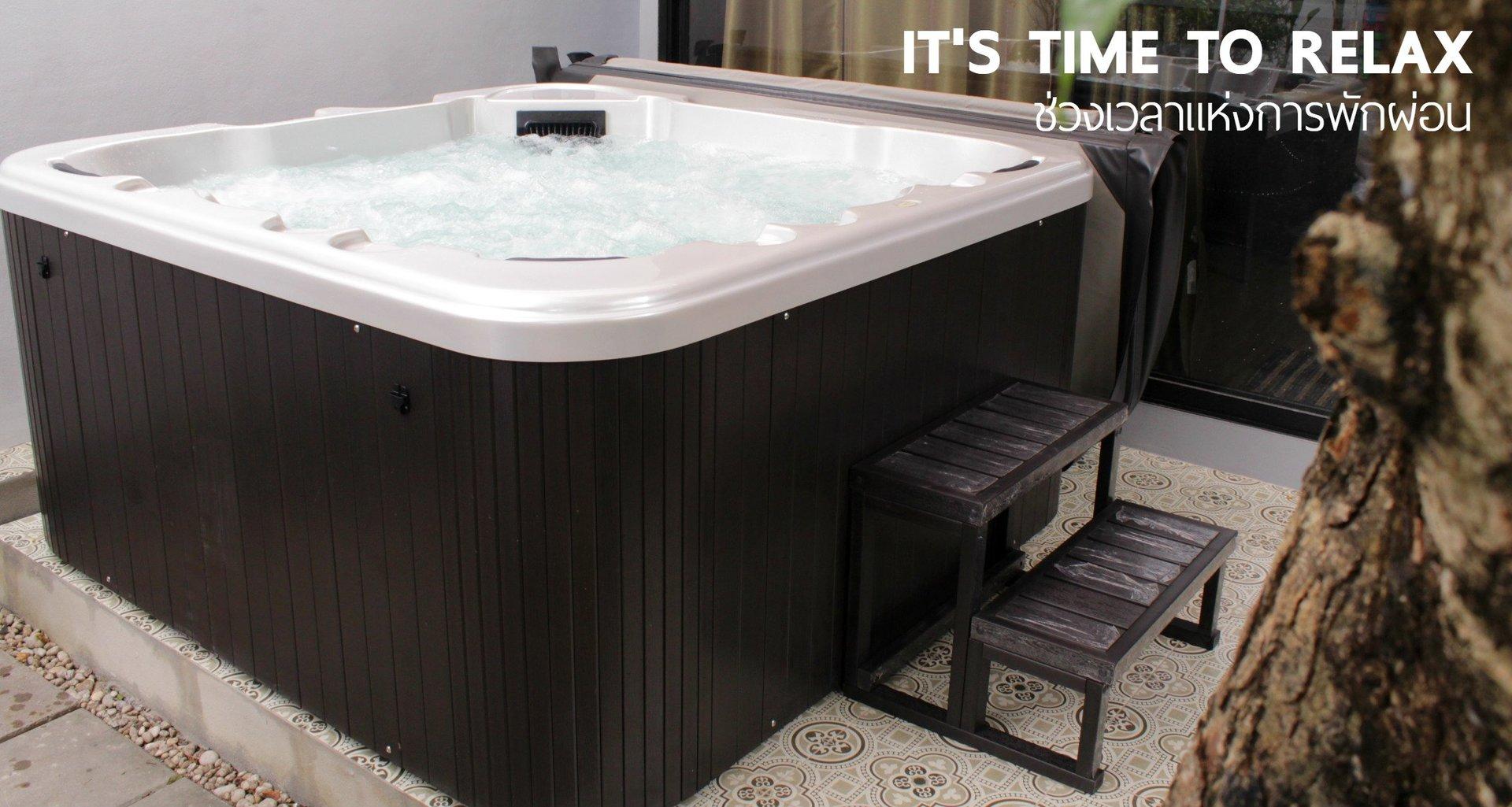 อ่างน้ำจากุซซี่ภายนอก อ่างน้ำร้อนอะคริลิคสำหรับบ้านและธุรกิจสปา รีสอร์ท โรงแรม วิลล่า Hot tub อ่างน้ำวนรับบรรยากาศหน้าบ้าน อ่างจากุซซี่สำเร็จรูป ของขวัญครอบครัว