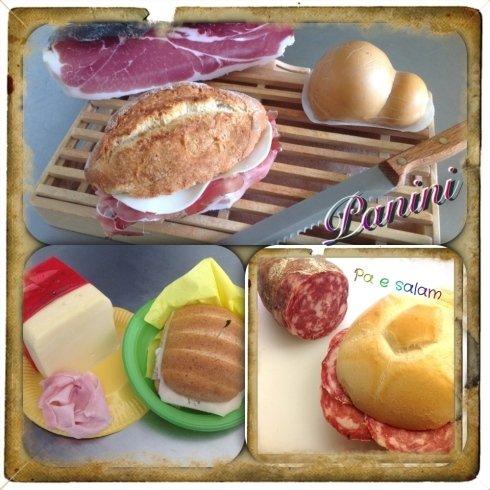 panini imbottiti con affettati, salumi e formaggi