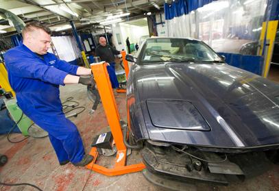 car being restored
