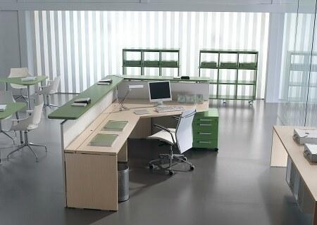 Ufficio verde e rosa