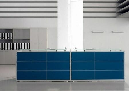 Scrivania panelli blu