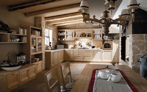 cucina legno e mattone