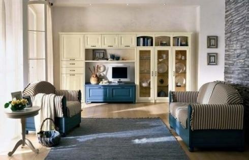 soggiorno colorato legno