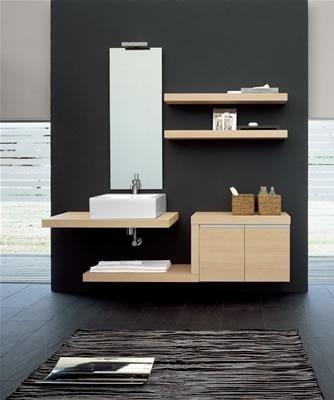 Mobiletto legno chiaro bagno