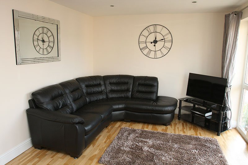 Interior view of a room with black color sofa