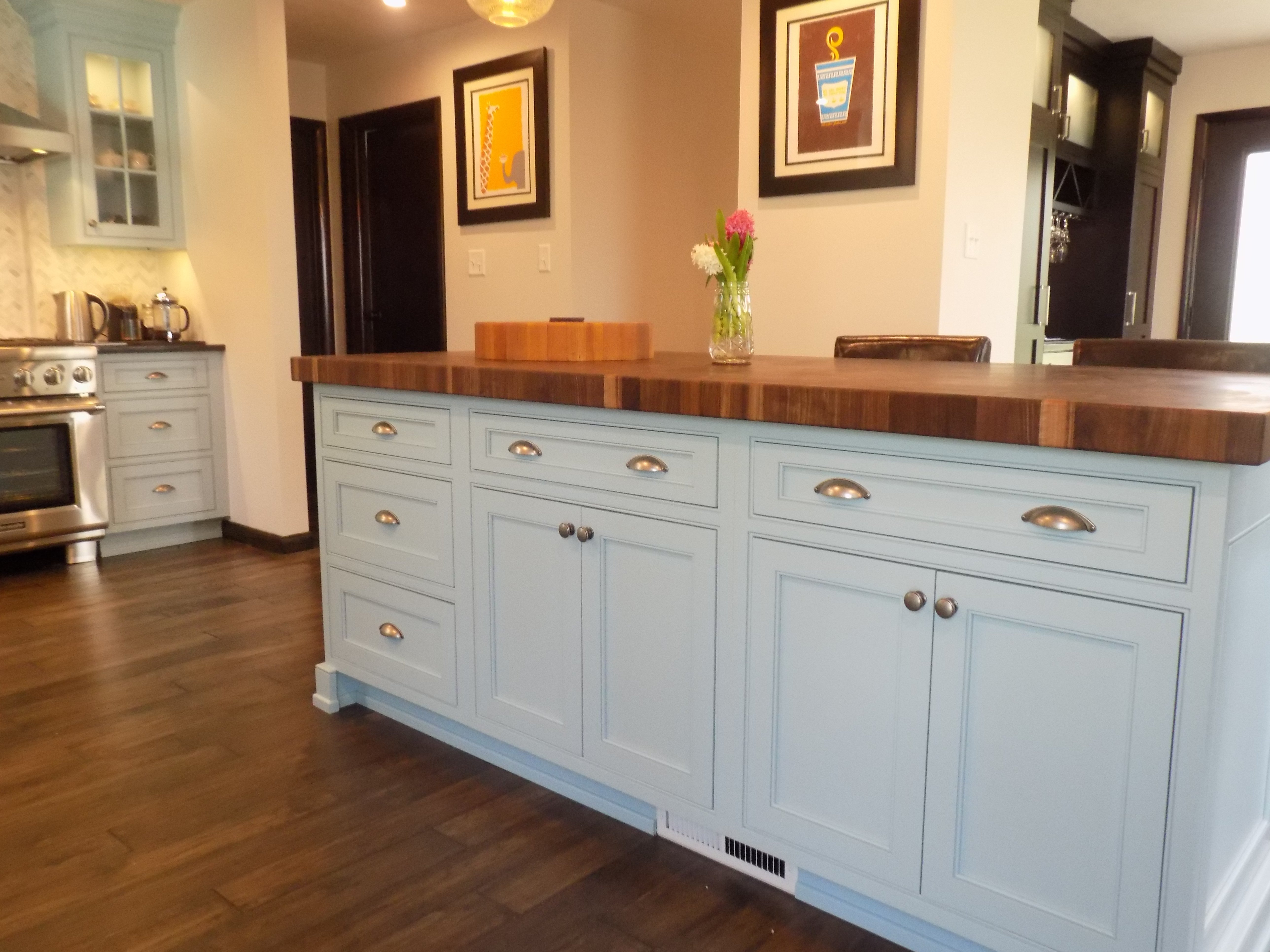 kitchen island with storage and butcher block counter