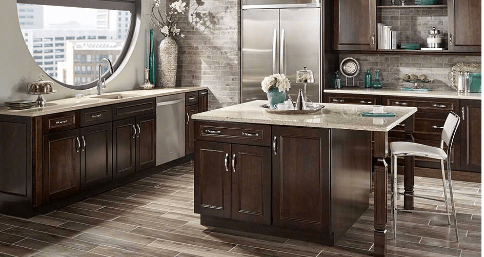 dark wood kitchen cabinets with granite countertops
