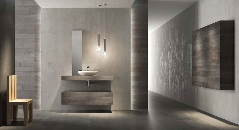 un bagno moderno  con vista di un lavabo e una sedia