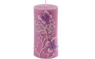 pink butterflies candle
