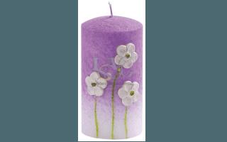 light purple flowers candle