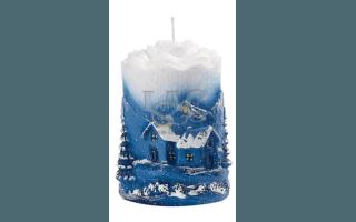 sky-blue yuletide candle