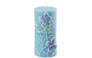 turquoise butterflies candle