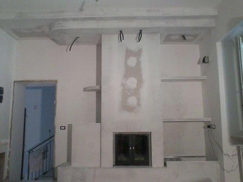 scaffali e soffitto realizzati in cartongesso