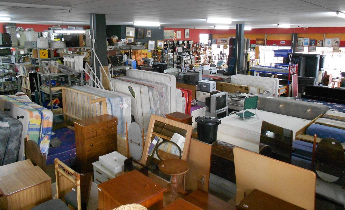Range of whitewares and antique furniture on display in Manukau