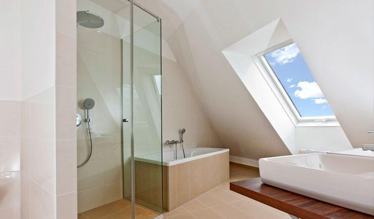 new modern shower and bathroom renovation