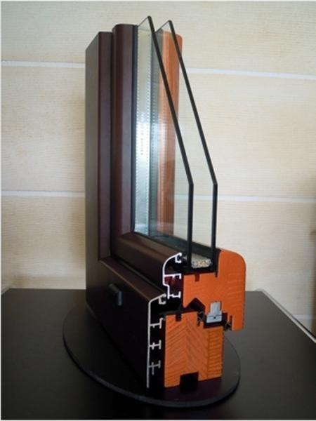 Fusion68 - Legno Abete Finitura Metallizzato arancione Profilo esterno Alluminio Tipo profilo Soft sabbiato marrone