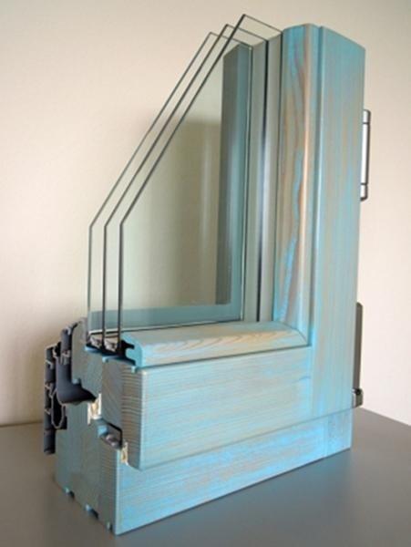 Clima92 - Legno Larice Finitura Patinato Azzurro Profilo esterno Alluminio Tipo profilo Squadrato sabbiato grigio