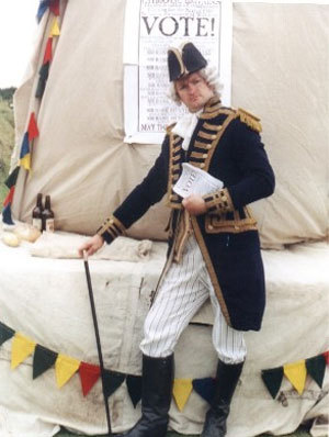 A man wearing a Nelson style costume