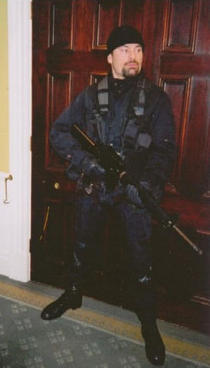 A man in an SAS costume