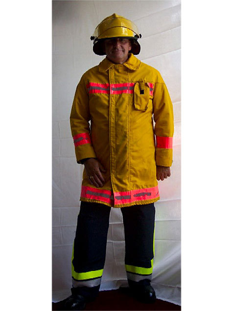 Man dressed as a fire-fighter