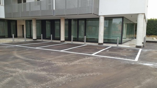 strisce bianche delimitano dei parcheggi