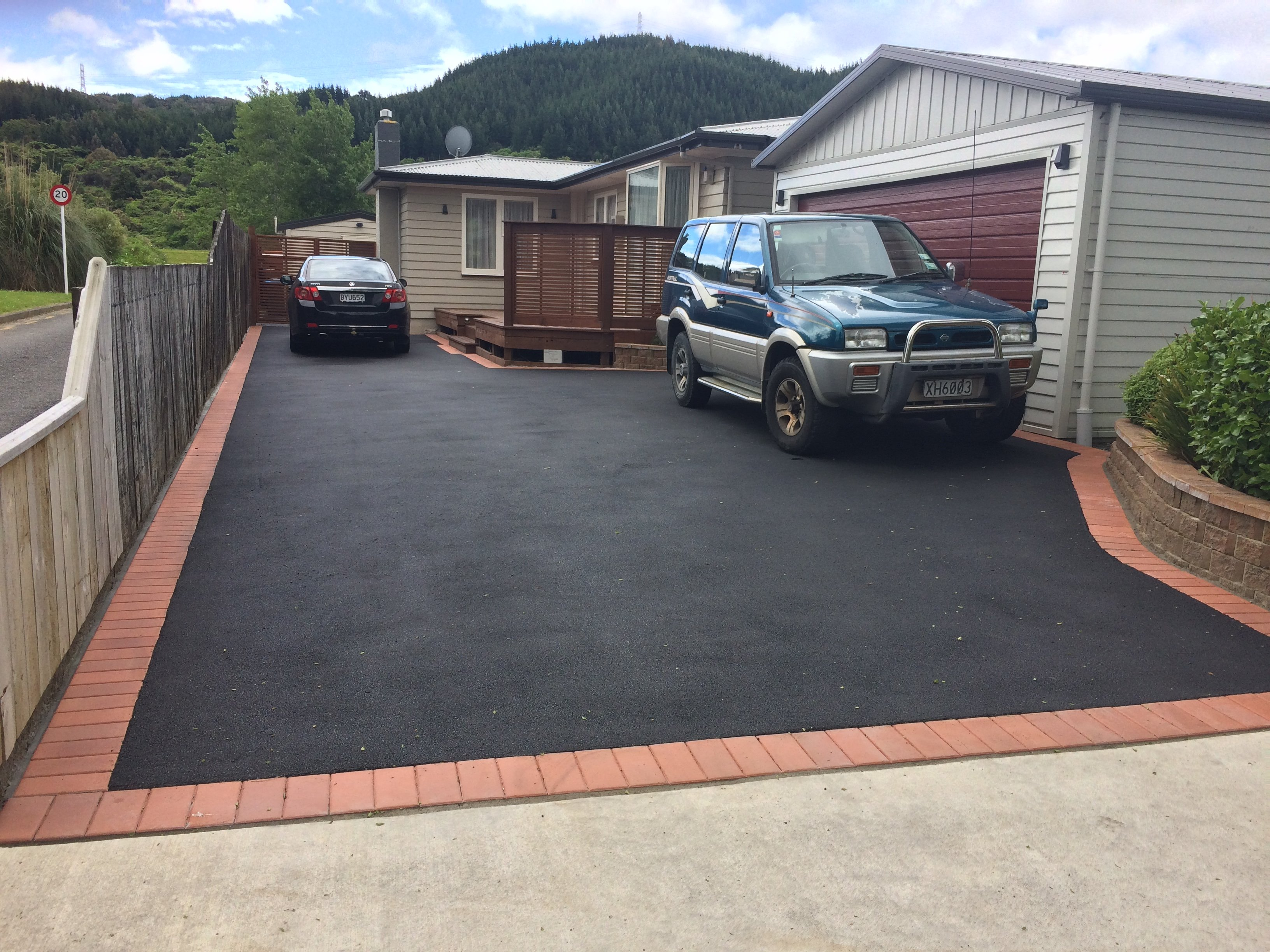 View of a newly built asphalt driveway