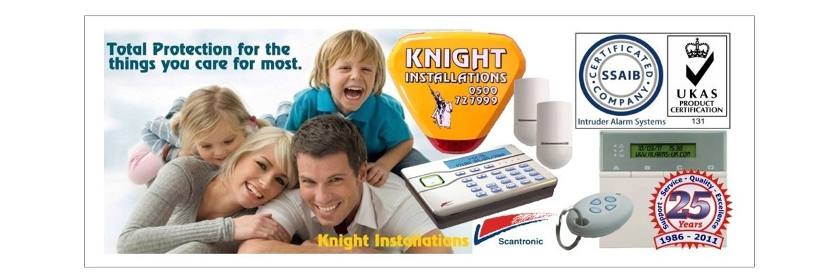 Security logos and accessories beside a photo of a smiling Mum and Dad with two children