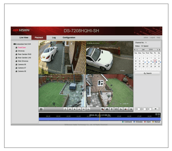 Four CCTV images on a screen