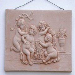 pannello in rilievo, disegno su terracotta